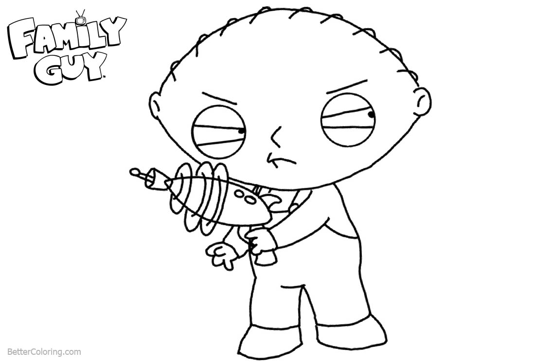 Stewie from Family Guy Coloring Pages Lois With A Gun printable for free