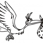 Stork Coloring Pages Cartoon Line Drawing