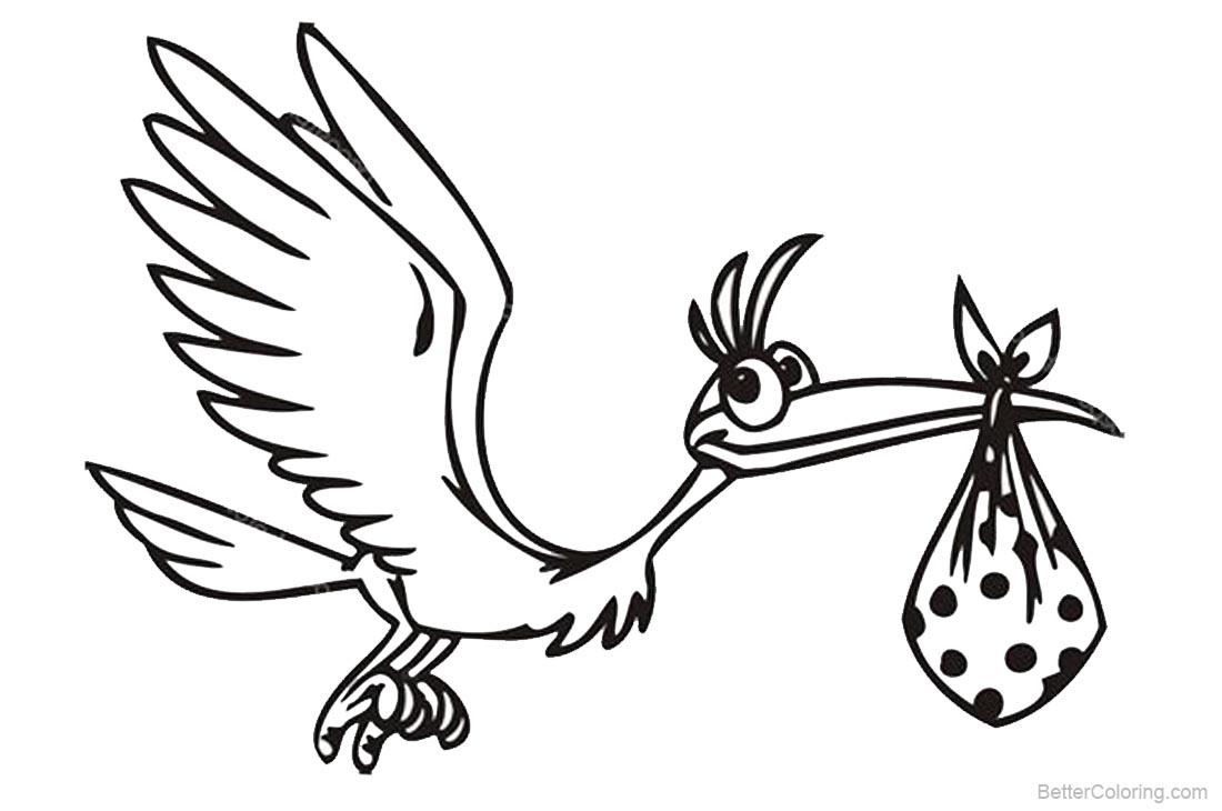 Stork Coloring Pages Cartoon Line Drawing printable for free