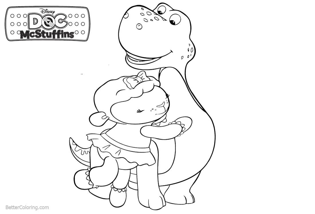 Stuffy and Lambie from Doc McStuffins Coloring Pages Free