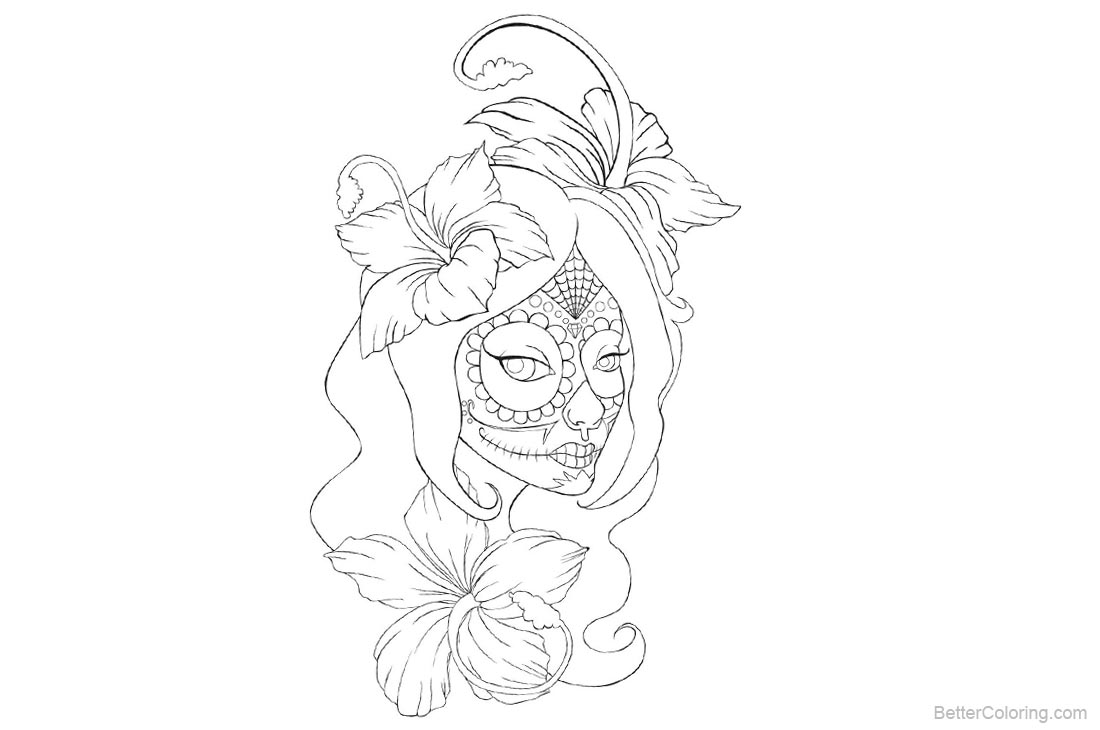 Sugar Skull Coloring Pages Girl Lineart printable for free