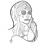 Sugar Skull Coloring Pages Virgin Black and White