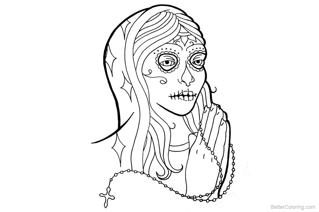 Sugar Skull Coloring Pages Virgin Black and White printable for free