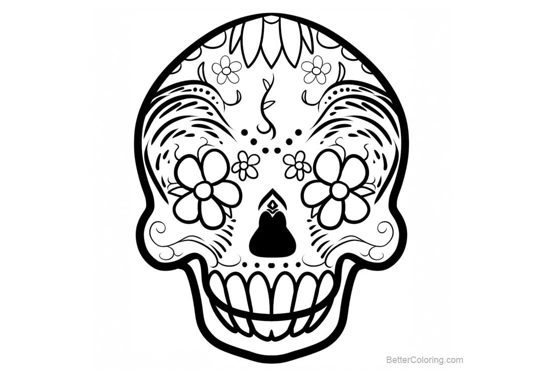 sugar skulls coloring pages caveira mexicana free