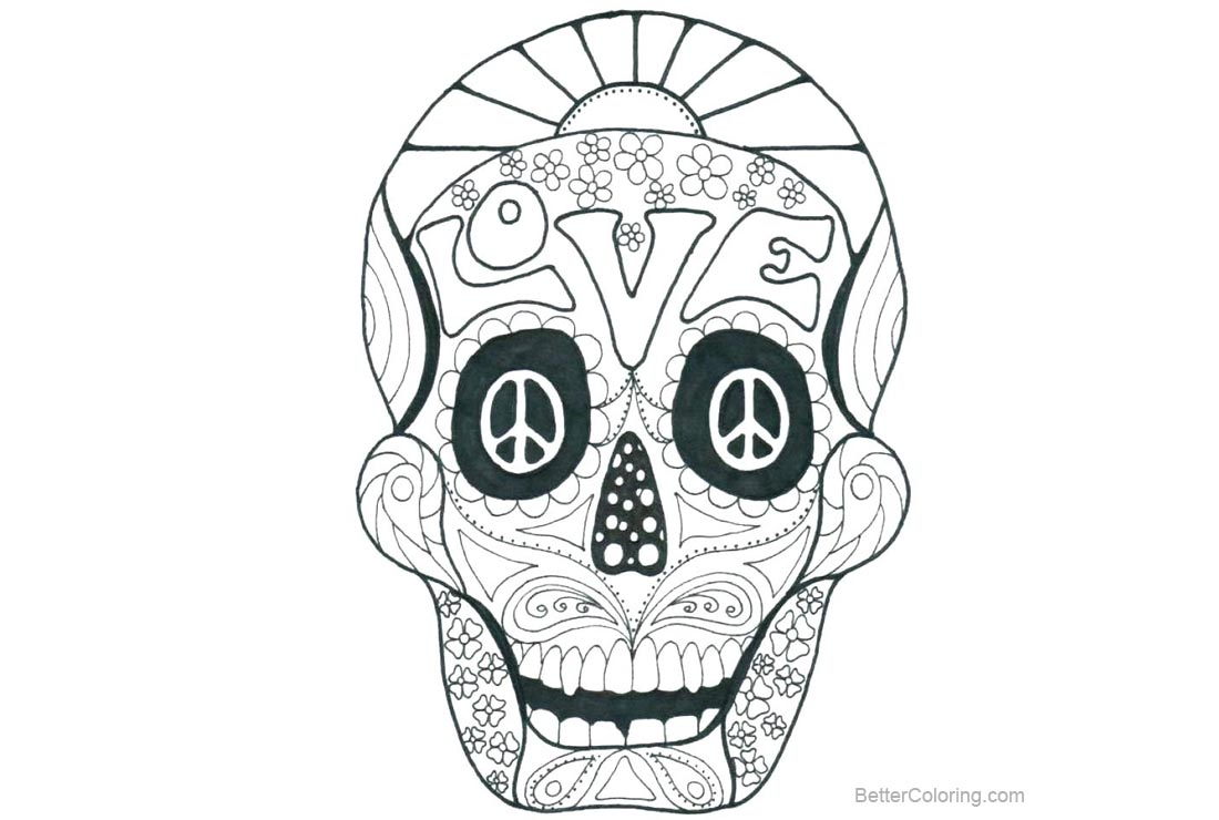 Free Sugar Skulls Coloring Pages Letters Love printable