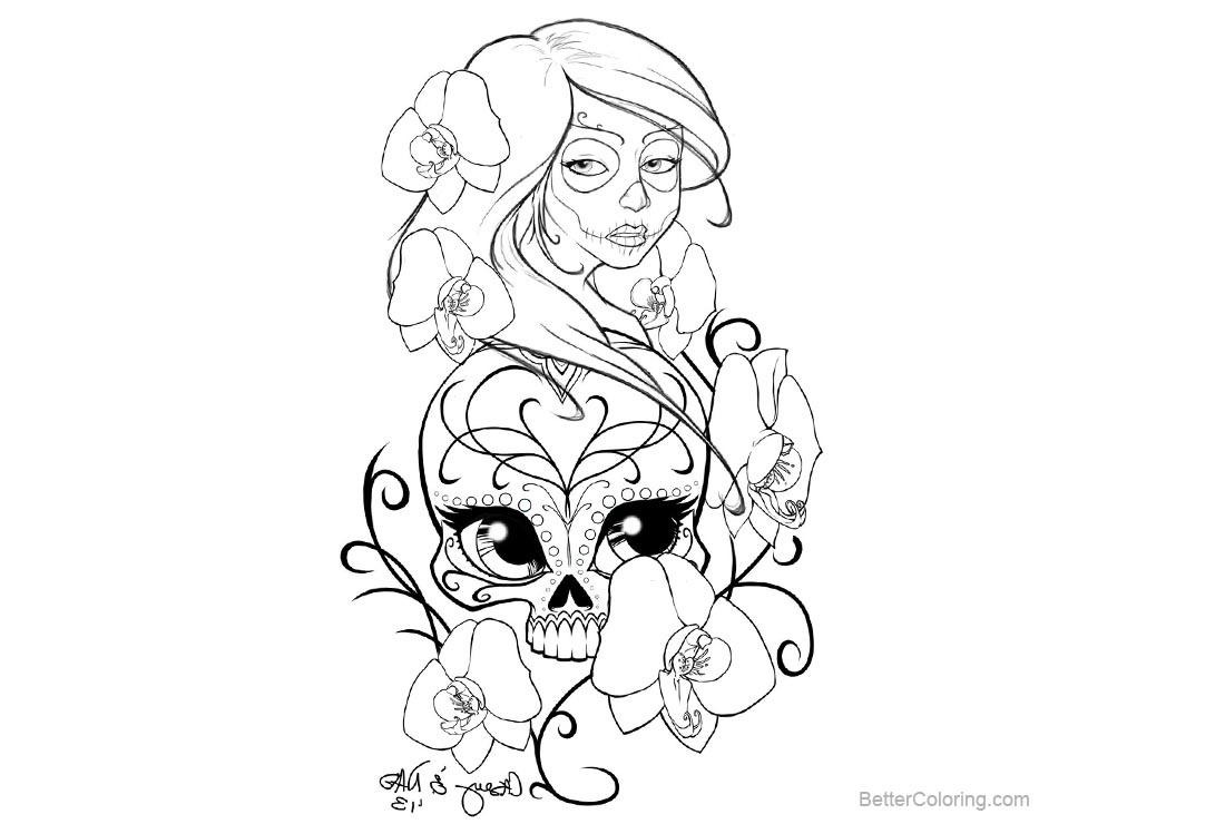 Free Sugar Skulls Coloring Pages Tattoo Design by smallesthing printable