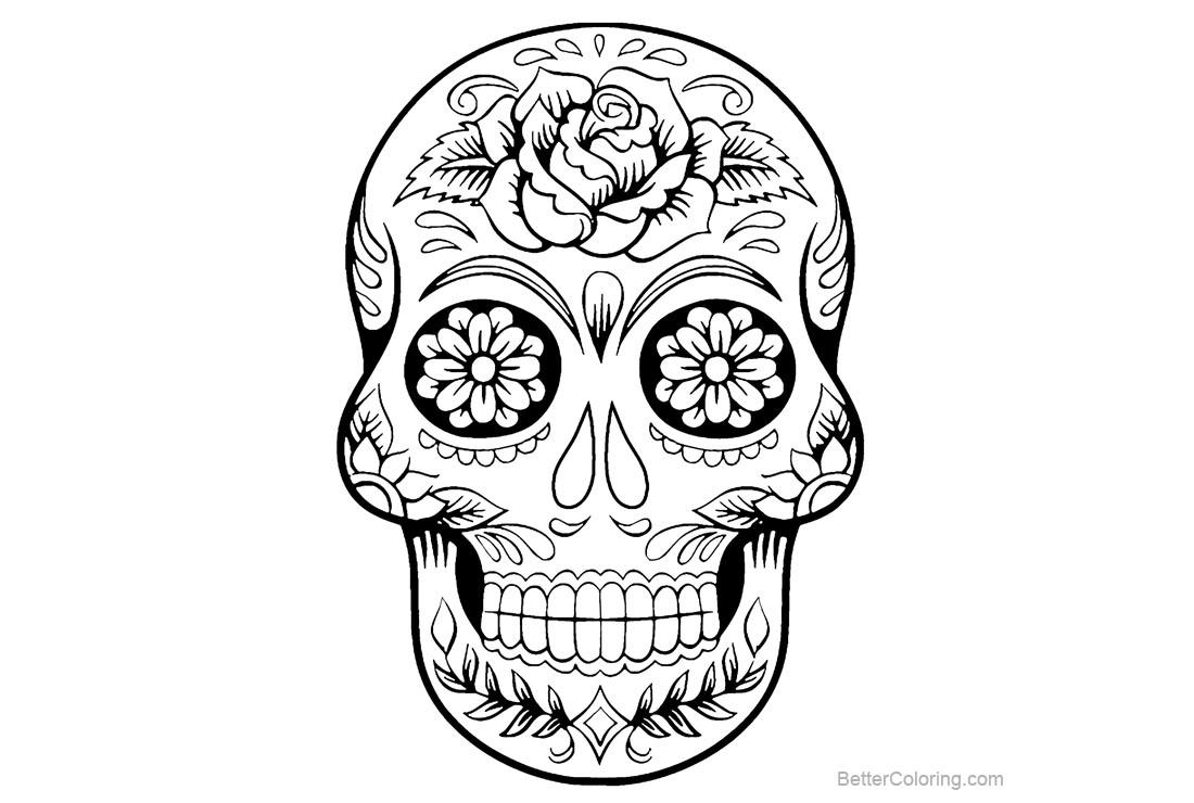 Free Sugar Skulls Coloring Pages Tattoo Line Art printable