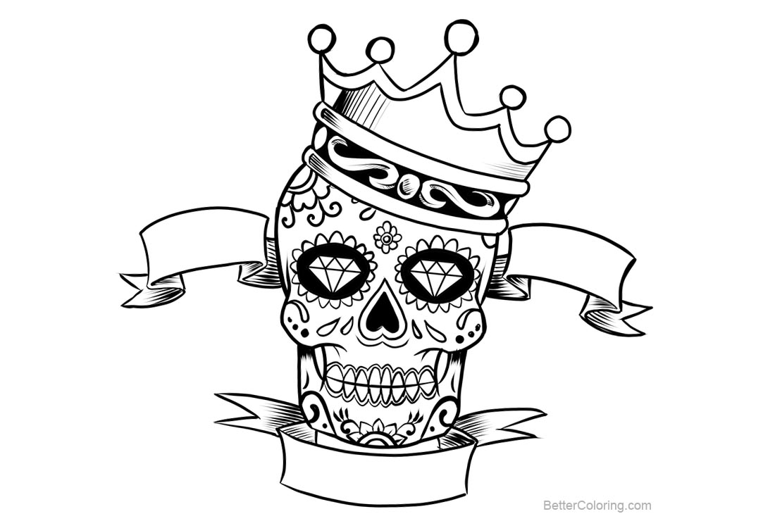 Sugar Skulls Coloring Pages With Crown