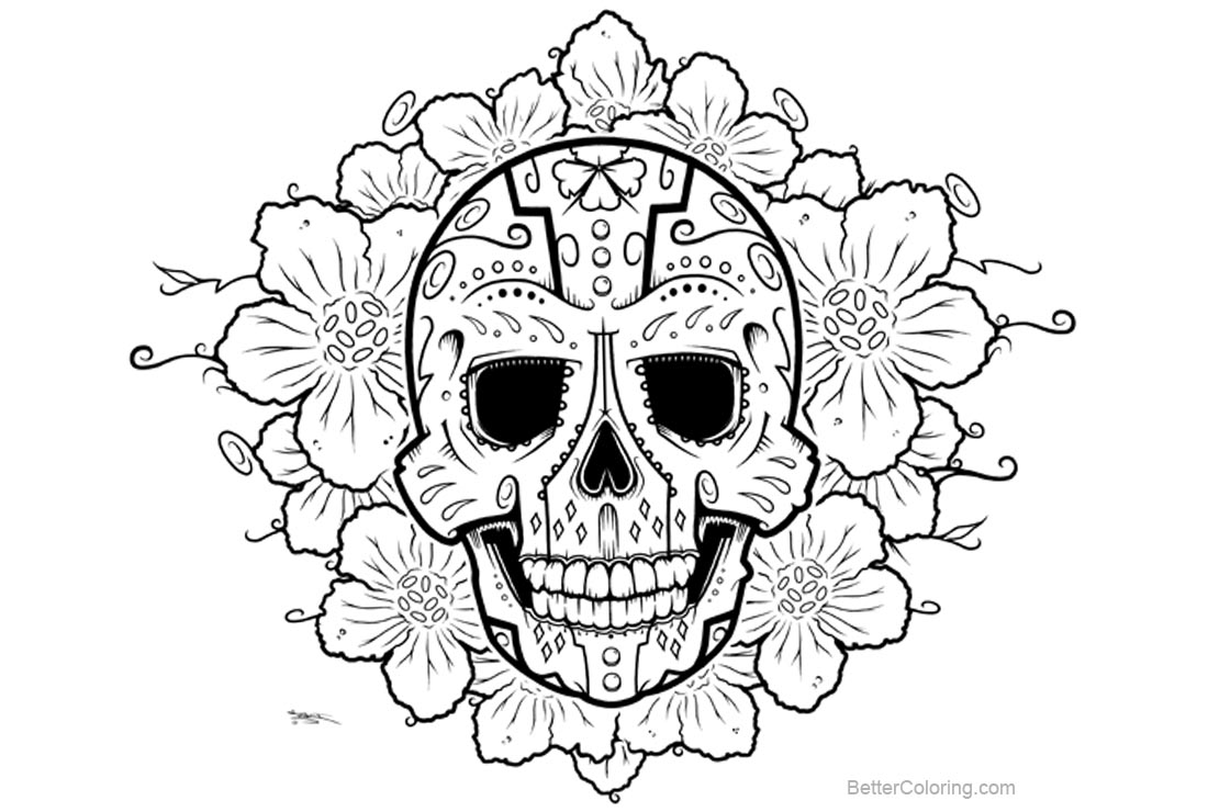 Sugar Skulls Coloring Pages With Flowers Drawing