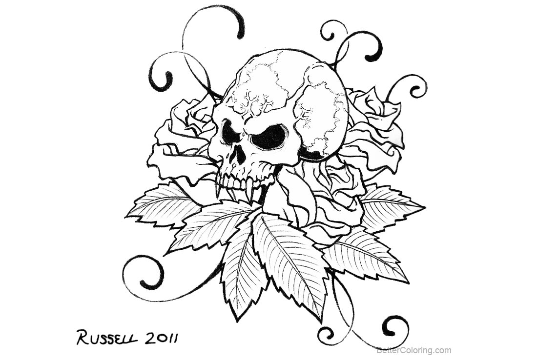 Sugar Skulls Tattoo Coloring Pages by bungle0 - Free ...