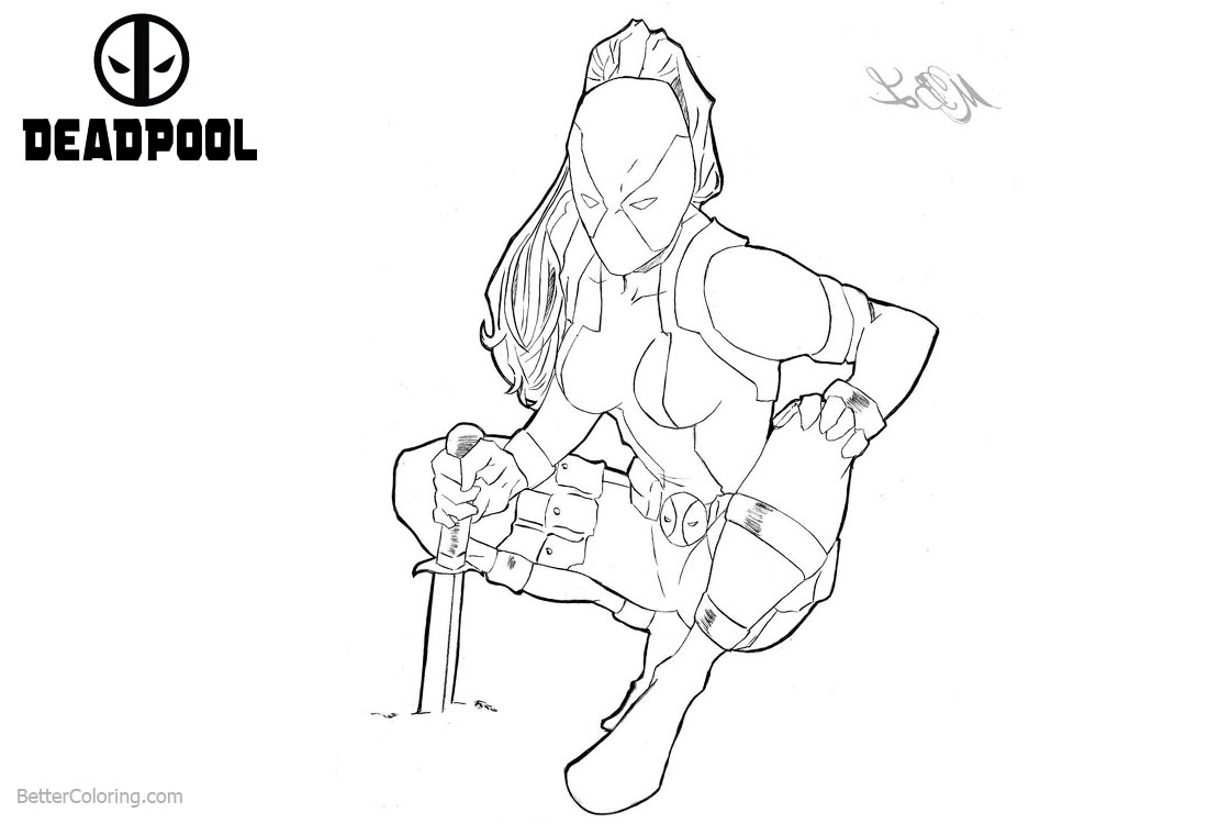 Super Girl from Deadpool Coloring Pages Fan Drawing printable for free