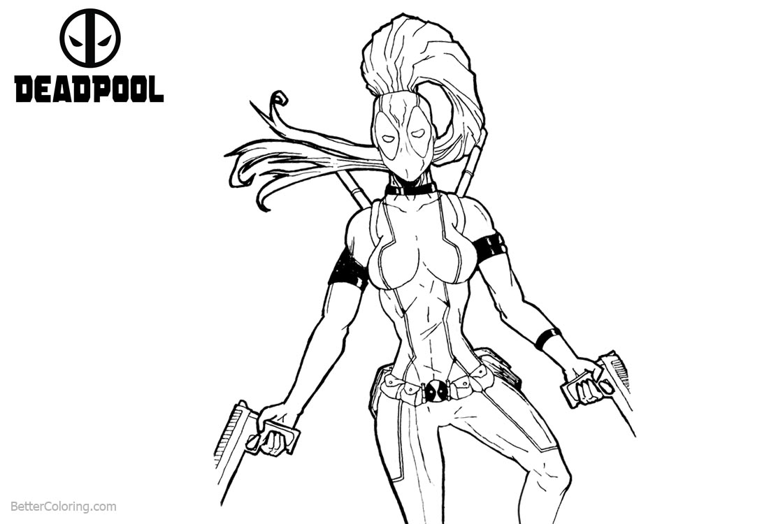 Super Girl from Deadpool Coloring Pages printable for free