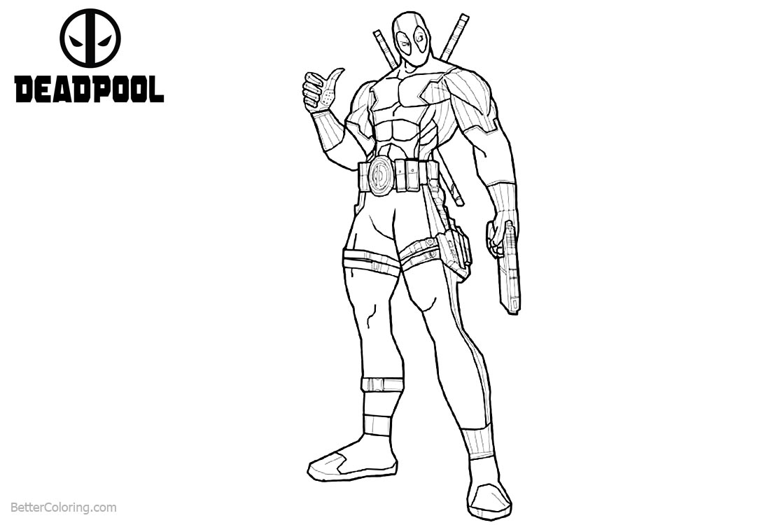 Super Hero Deadpool Coloring Pages Lineart printable for free