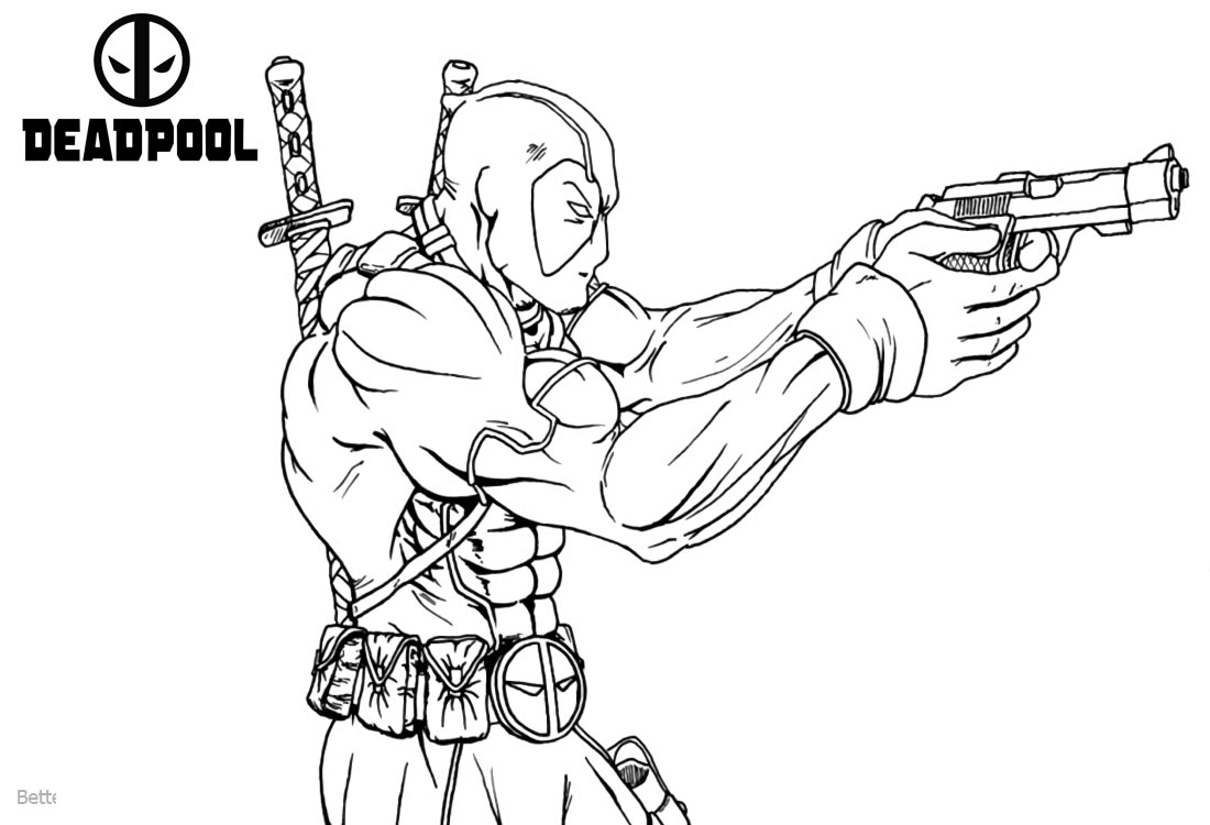 Super Hero Deadpool Coloring Pages printable for free