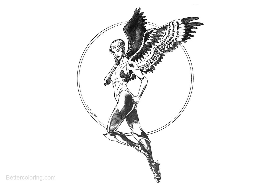 Free Super Hero Hawkgirl Coloring Pages printable