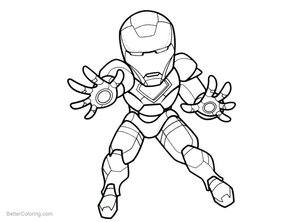 Free Superhero Chibi Iron Man Coloring Pages printable