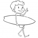 Surfboard Coloring Pages A Boy Go to Surf