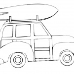 Surfboard Coloring Pages A Car Carry A Surfboard