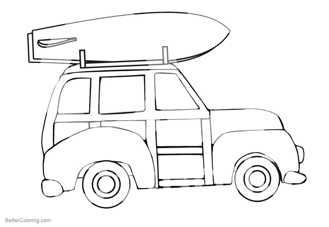 Surfboard Coloring Pages A Car Carry A Surfboard printable for free
