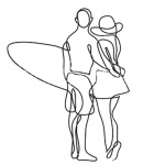 Surfboard Coloring Pages A Couple Go to Surf
