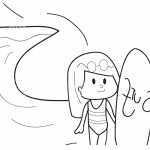 Surfboard Coloring Pages A Cute Girl Ready to Surf