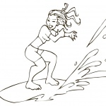 Surfboard Coloring Pages A Girl is Surfing