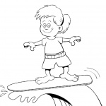 Surfboard Coloring Pages A Kid Surfing