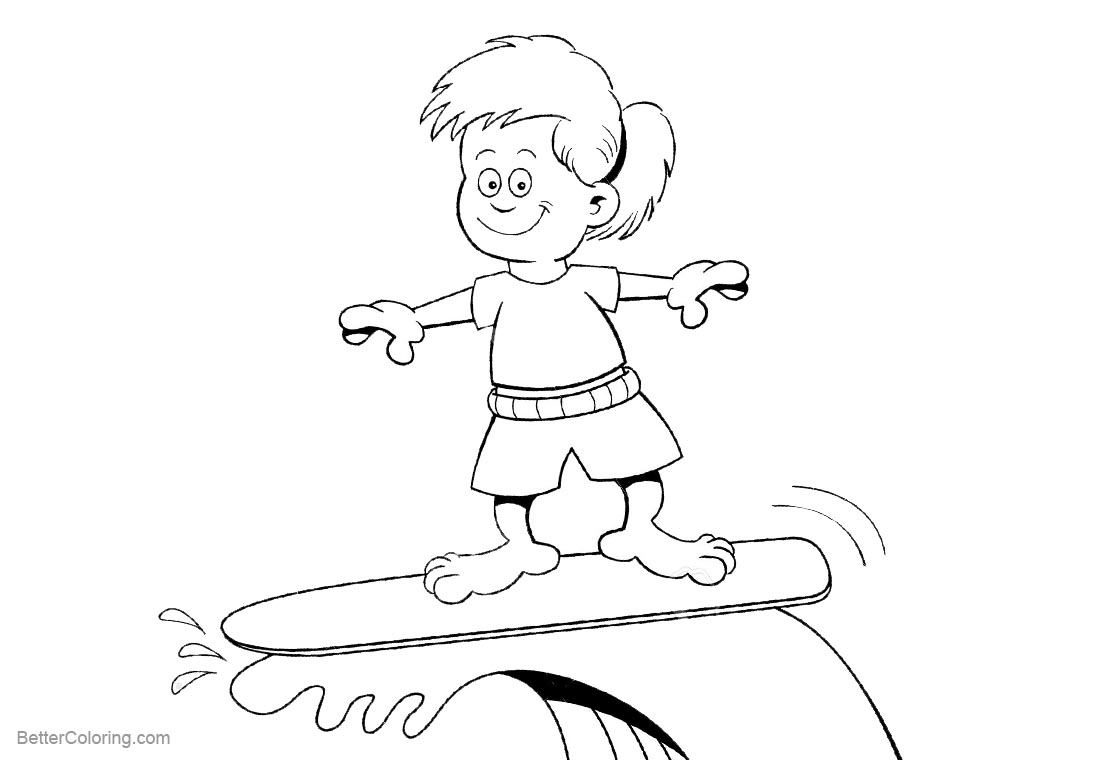 Surfboard Coloring Pages A Kid Surfing printable for free