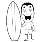 Surfboard Coloring Pages A Man with A Surfboard on the Beach