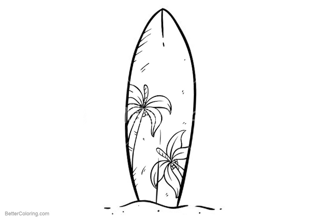 Surfboard Coloring Pages A Surfboard with Coconut Tree Pattern ...
