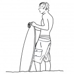 Surfboard Coloring Pages A Young Man with A Surfboard