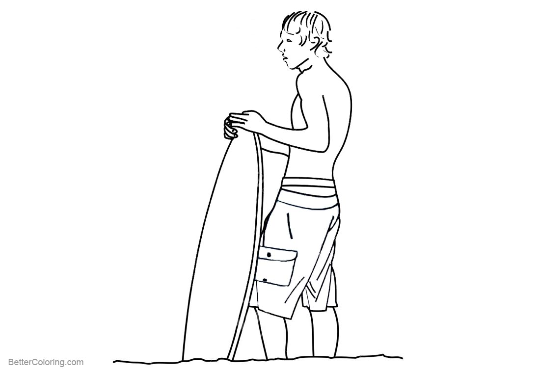 Surfboard Coloring Pages A Young Man with A Surfboard - Free ...