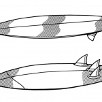 Surfboard Coloring Pages Bottom View and Top View