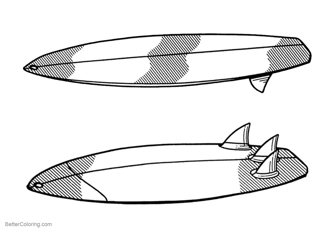 Surfboard Coloring Pages Bottom View and Top View printable for free