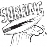 Surfboard Coloring Pages Clip Art Black and White