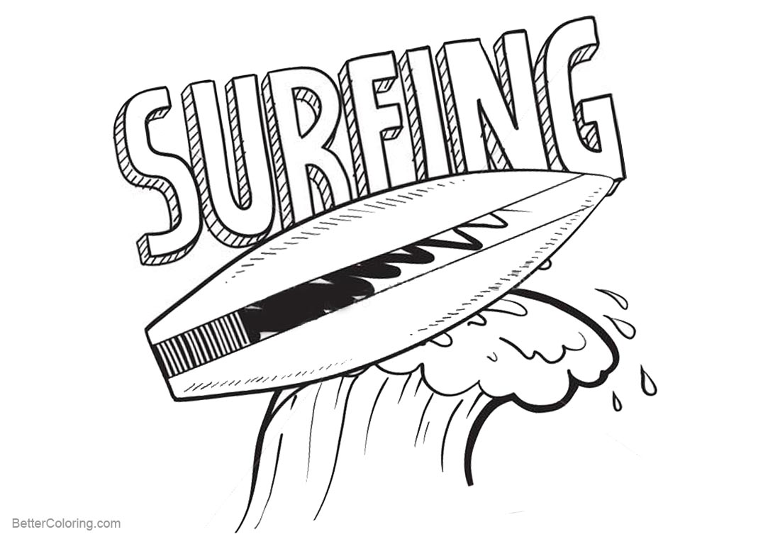 Surfboard Coloring Pages Clip Art Black and White printable for free