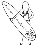 Surfboard Coloring Pages Girl Holding a Surfboard