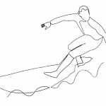 Surfboard Coloring Pages Man Surfing on the Sea