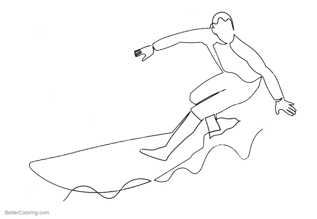Surfboard Coloring Pages Man Surfing on the Sea printable for free