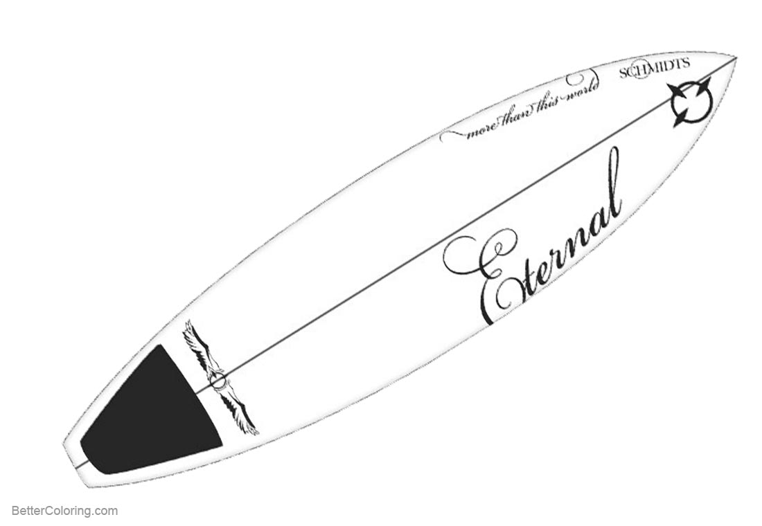 Surfboard Coloring Pages Realistic Drawing printable for free