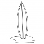 Surfboard Coloring Pages Simple Line Drawing