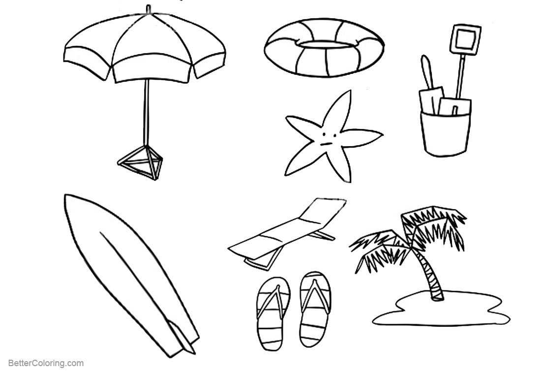 Surfboard Coloring Pages Summer Beach Life printable for free