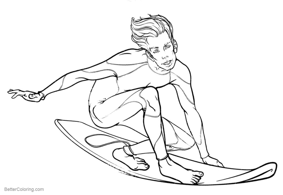 Surfboard Coloring Pages Summer Water Sports Surfing printable for free
