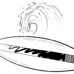 Surfboard Coloring Pages Surfboard and Wave