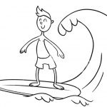 Surfboard Coloring Pages Surfing on the Sea