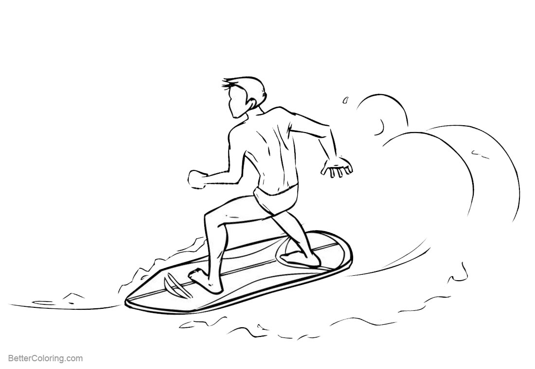 Surfboard Coloring Pages Surfing - Free Printable Coloring Pages