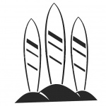 Surfboard Coloring Pages Three Surfboards on Sand