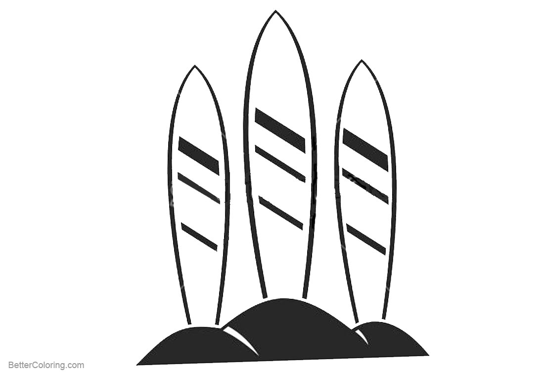 Surfboard Coloring Pages Three Surfboards on Sand printable for free