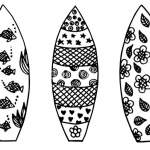 Surfboard Coloring Pages Three Surfboards with Pattern