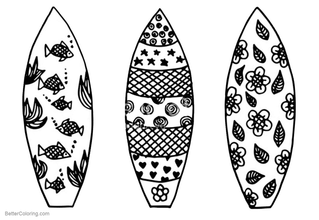 Surfboard coloring pages three surfboards with pattern for Surfboard craft for kids